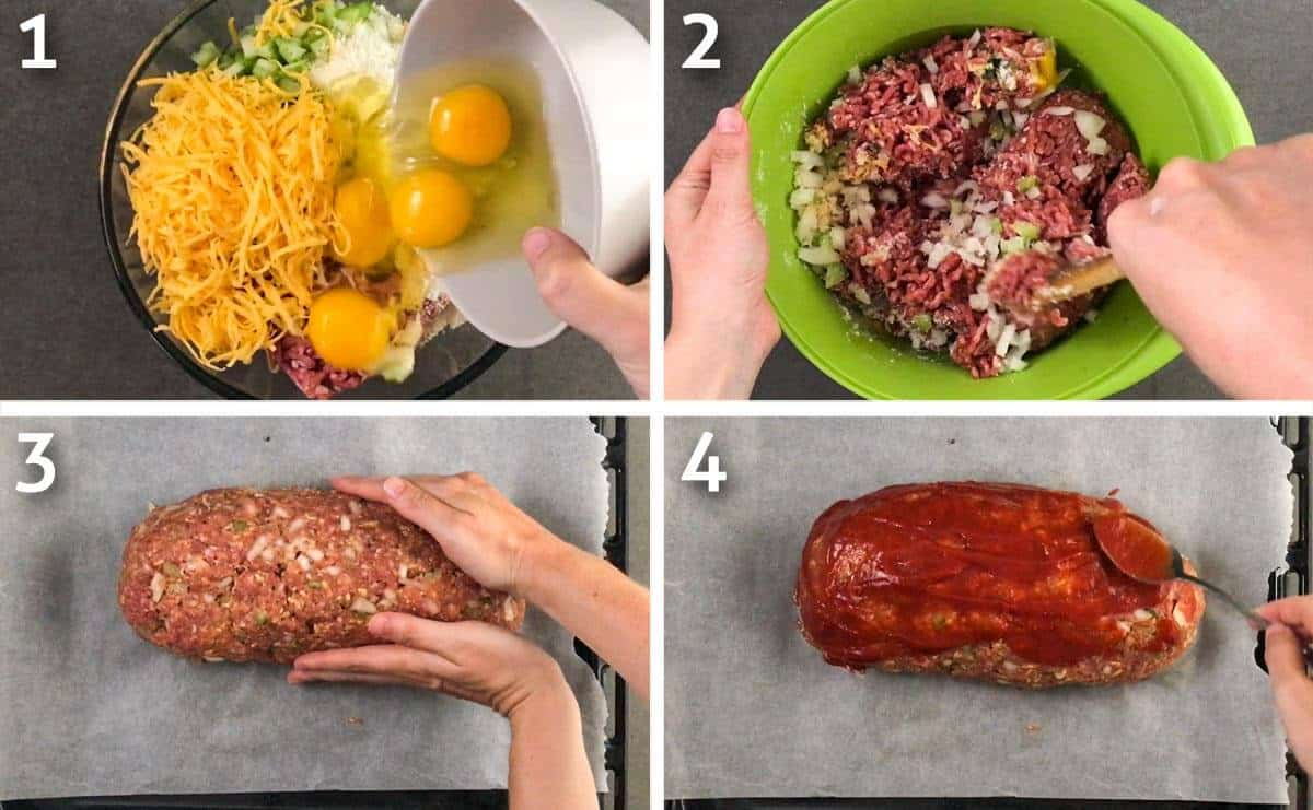 Photo grid of keto meatloaf cooking process.
